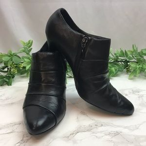 WHBM Black Leather Dress Booties size 8